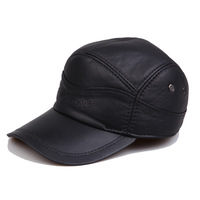 Quinquagenarian genuine leather hat male cotton warm hat ear winter built-in thermal cap