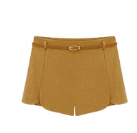 XFashion Women's New Arrival Slim Pure Color Wool Shorts