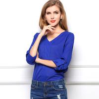 European 2015 summer women's casual V-Neck loose shirt long sleeve chiffon blouses OL blusas Plus Size CS112