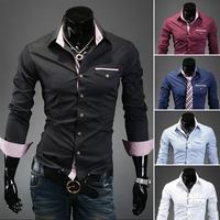 Free Shipping Men'S Long-Sleeved Shirt Shirt Sportsman Flip Chest High Quality Fashion Casual Long-Sleeved Shirt Size M-XXL-9026