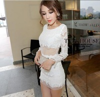 New 2015 spring womens sexy lace Net yarn stitching Long-sleeved dress