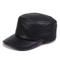 2015 genuine leather hat quinquagenarian cowhide brief fashion military hat cadet cap winter cold cap