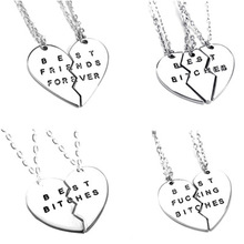 New Style Fashion Broken Heart 3 Parts Gold Best Bitches Necklaces & Pendants,Jewelry For Women,Best Gift for Friends