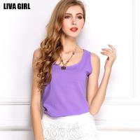 roupas femininas 2015 summer women blouses Candy color sleeveless chiffon shirt vest straps bottoming shirt Plus Size CS115