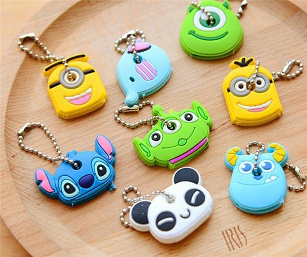 Lovely 8 Styles Kawaii Cartoon Animal Silicon Key Caps Covers Keys Keychain Case Shell Novelty Item Girl Unisex Accesssories(China (Mainland))