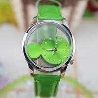 Fashion Mickey Delicate transparent hollow dial leather strap wristwatches quartz watch women rhinestone watches white
