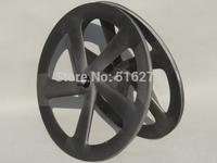 Full Carbon Matt ( 3K ) Track Bike Five Spokes Clincher Wheelset Rim Depth : 65mm