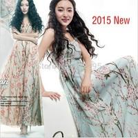 New spring and summer 2015 women's beach-style chiffon dress girls commuter lady chiffon dress mopping