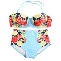 High-grade Push Up Bikini Set Women Floral Print Swimwear Padded Bathing Suit Bandage Swimsuit Beachwear Detachable Halter Strap