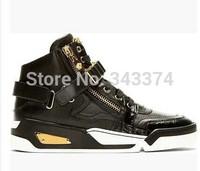 New original 2014 brand versa Autumn/Winter Luxury famous brand Men Sneakers men's high top Medusa genuine leather shoes
