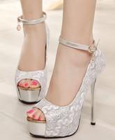 fashion lace summer ladies wedding shoes woman high heels girls ankle strap sandals women shoes platform peep toe pumps GL150004