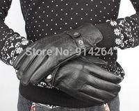 Vintage Business Men Adustable Goat Genuine Leather Gloves Thicken Mittens Black