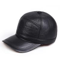 Quinquagenarian genuine leather hat winter warm hat cowhide baseball cap