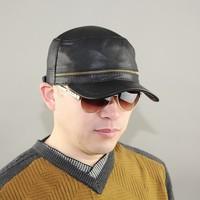 2015 original design fashion zipper military hat cadet cap spring and autumn quinquagenarian genuine leather warm hat
