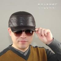 Quinquagenarian genuine leather hat winter fashion warm hat cadet cap ear cowhide hat