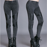 Jeans woman new 2015 new women's cotton denim jeans elastic skinny leather women PU patch pencil thin Denim Ladies' Jeans Brand