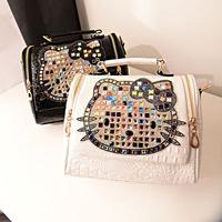 2015 women's handbag mushroom kt cat rhinestone shoulder bag handbag messenger bag women's handbag