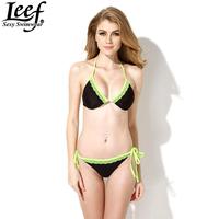 2015 Fashion Women Sexy Bikini With Rims Triangle Bra Bikini Women's Hot Swimsuits Biquini Ladies Swimwear Beachwear Bikini Set