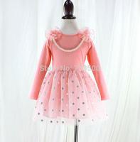 2015 Baby Girls Spring Dot Mesh Tutu Dress With Floral Beading Necklace, Children Clothing Pink Black, 5 pcslot, Wholesale