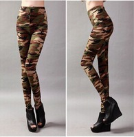 Women Graffiti Style Slim Camouflage Stretch Trouser Army Tights Cotton Pants free shipping