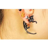 Free shipping Lovely Cute Pearl Leopard Cat Ear Stud Women Men Piercing Earring Dangler   WHS631