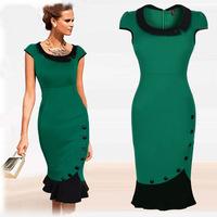 2015  Women  Spring and Summer Fashion  Mid Calf Casual Dress Short Sleeve Ladies Vintage Empire Slim Trumpet Dresses