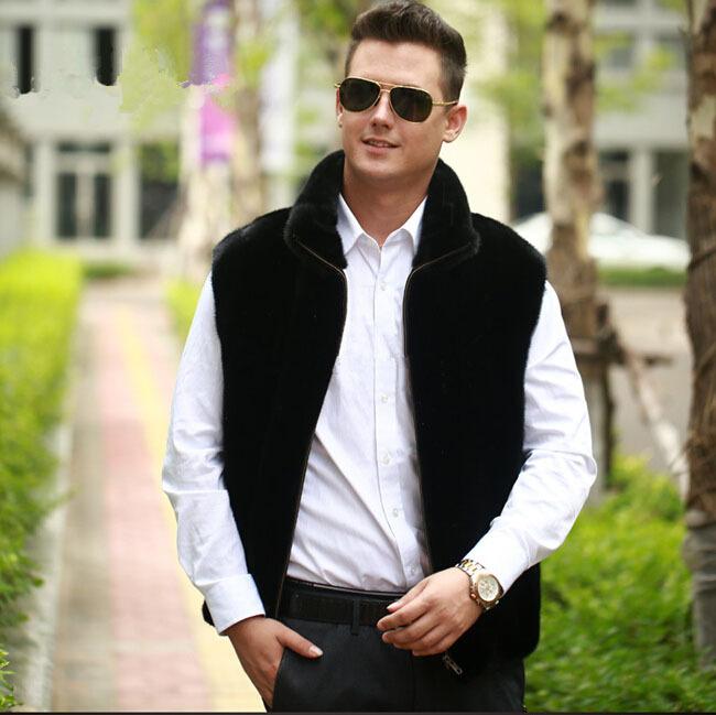 2015 new men winter warm faux fur vest Fashion black mandarin collar fur vest jacket Mink fur luxurious zipper fur waistcoat(China (Mainland))