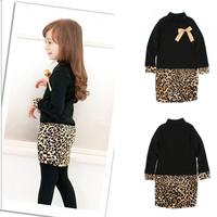 Princess Kids Baby Girls Long Sleeve One Piece Dress Bow Leopard Costume Freeshiping