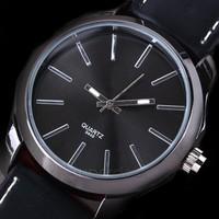 Wholesale cheap Hot Brand Men's Causal Quartz Watch Black Steel Leather men watches WristWatches SV14 SV005733