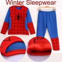 hot sell 2014 fashion winter long sleeve spiderman costume clothes boys sleepwear children pajama set kids cartoon clothing