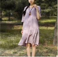 2015 linen dress summer new arrival women's loose brief ol elegant  half sleeve one-piece Linen dress  women's free size dress