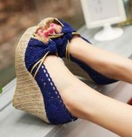 2015 women's shoes fashion lace casual cutout open toe platform wedges sandals high-heeled platform sandals lace wedge sandals