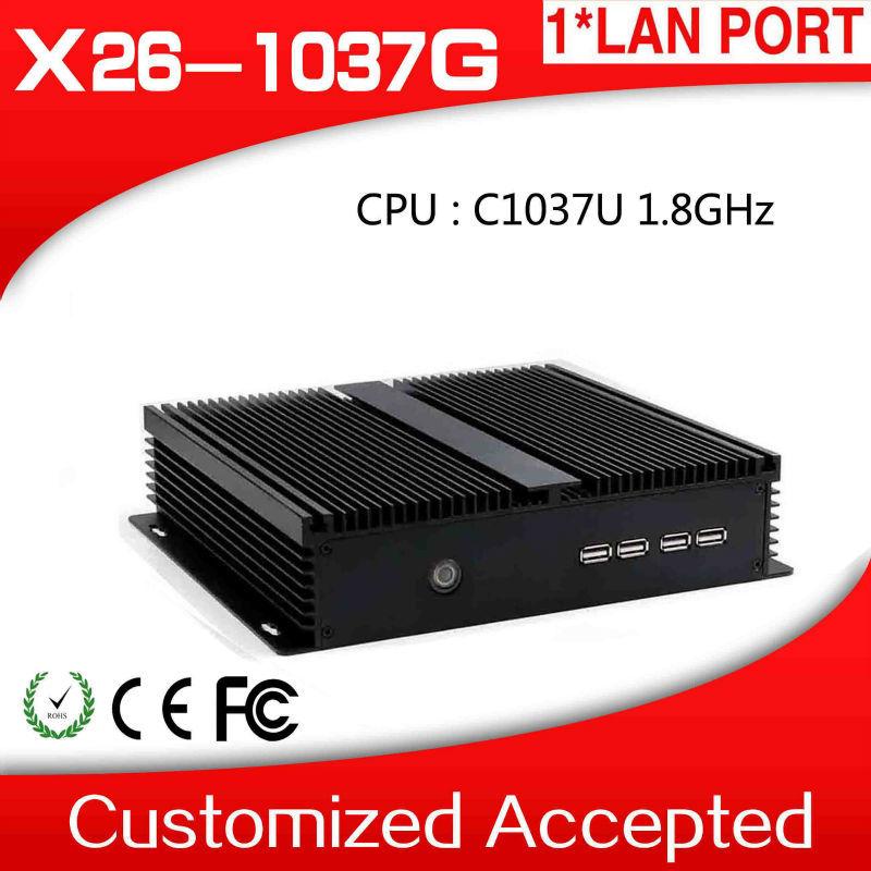 High Performance Fanless c1037u Celeron Mini Server PC Linux Ubuntu Youtube Mini Computer Box 4 RS232 Support Output Devices(China (Mainland))