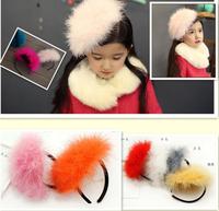 Children hair band Rabbit Hair headbands Feather fashion headband flower baby girl princess hair accessories