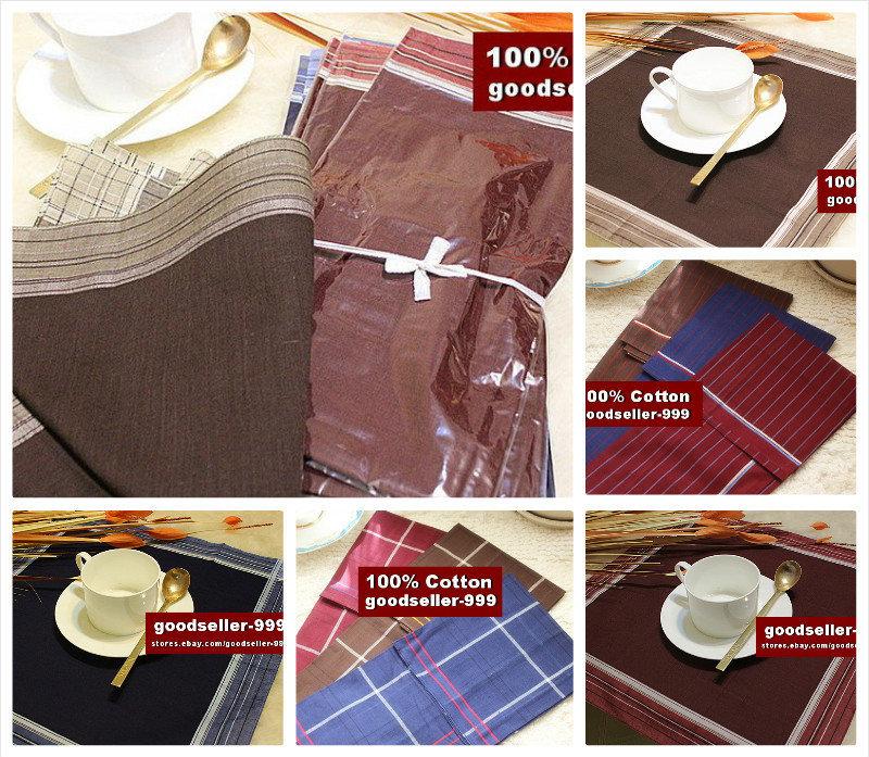 12 pieces / one dozen large size 40cm x 40cm classic striped pattern 100% cotton handkerchiefs(China (Mainland))