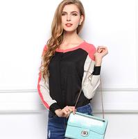 European 2015 summer women's casual shirt long-sleeved chiffon blouses splicing temperament OL blusas Plus Size CS111