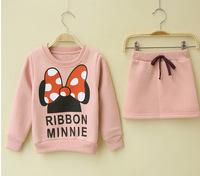 2015 Children's suit 2pcs Minnie T shirt + skirt suit for girls