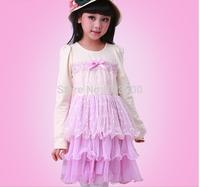 Lace Bow Floral Ruffles Dress For Baby Girls  Princess Cotton Fairy Violet Cake Dresses Kids Clothing  5 pcslot, Wholesale
