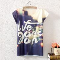 New 2015 summer women t-shirts fashion animal print loose tops for women's short-sleeved casual women vintage harajuku T shirt