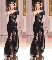 Sexy Black Lace Appliques One Shoulder Short SLeeve Floor Length Vestidos De Fiesta Zuhair Murad Evening Dress 2015 Prom Dress