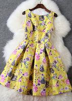 Free ship Yellow print spring sweet fashion mid waist slit neckline expansion bottom t2753 tank casual dress wholesale va1851