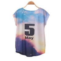 FS-3005 Free Shipping Summer 2015 Brand Batwing Sleeve Sport T-Shirt Letter Print Ladies Short Sleeve Shirt