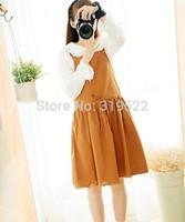 Lnen cotton soild wooden buttons overalls vintage suspender skirt