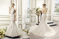 2015 Sexy Ivory Mermaid Wedding Dress Halter Appliques Open Back Buttons Along the Zipper Sweep Train Bridal Gowns V011