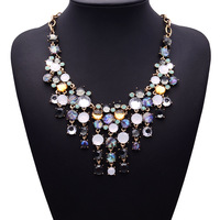 Korean Fashion Statement European Big Gem Tassel Beads Vintage Hotsale Wholesale Women Necklace Accessaries Sweather Women 3830