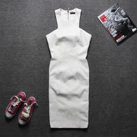 [RSW] 2015 New arrivals women's Fashion dress,Pure white Slim Straight Dress,famous brand style fashion Plus size XS-L