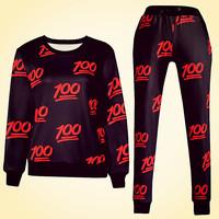 new women's Sweatshirt sports suit print emoji outfit Sport Suit women hoodies tracksuits Sweatshirt + pants  set joggers
