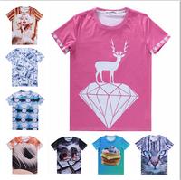 2015 women's new 21 hot models 3d tshirt Marilyn Monroe/Donuts/Fruit/Birds print tshirts casual t shirt size S-XXL