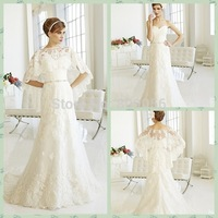 2015 Dazzling A-line Lace Wedding Dresses Sweetheart Sweep Train Zipper Bridal Gowns V036 (With Free Wrap/Jacket)