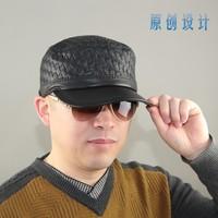 Original design spring and autumn genuine leather hat unique knitted sheepskin cadet cap